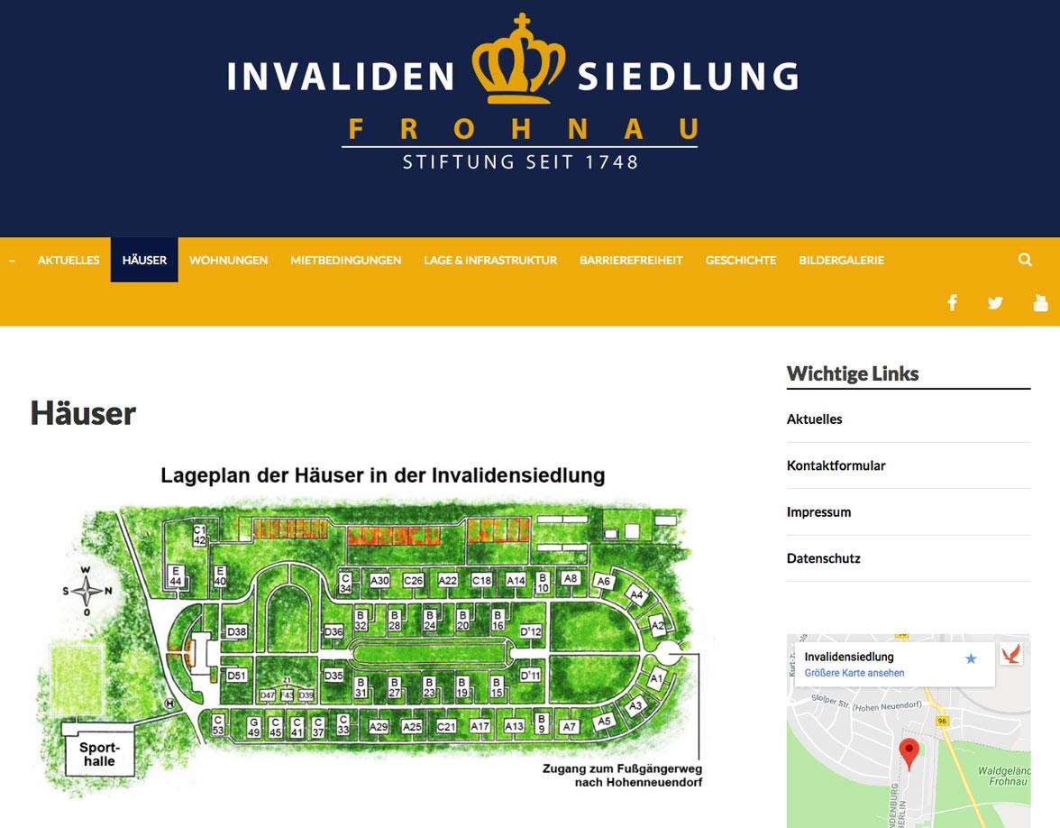 Invalidensiedlung Websiteentwicklung
